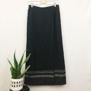 Eddie Bauer recycled wool wrap maxi skirt 8